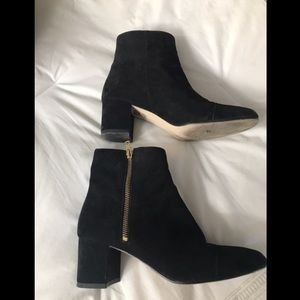 Black suede side zip ankle boot, mod heel